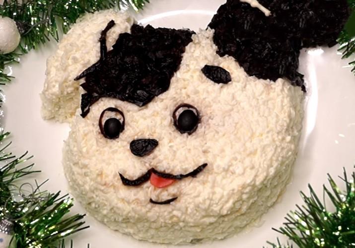 салат в виде собаки на Новый год