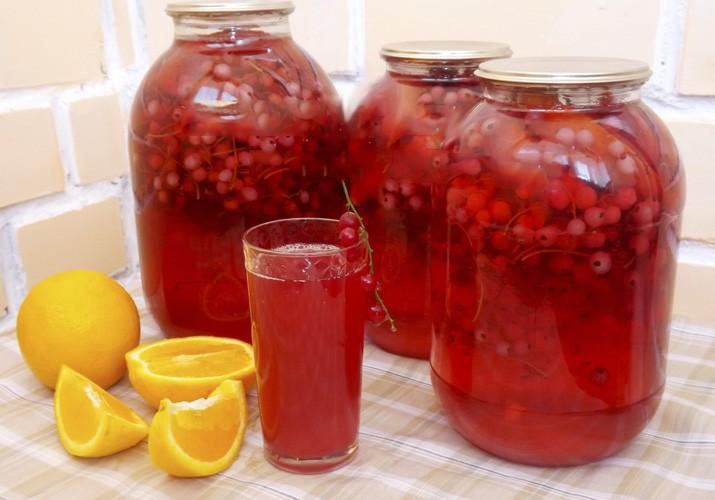 Компот из красной смородины с апельсинами