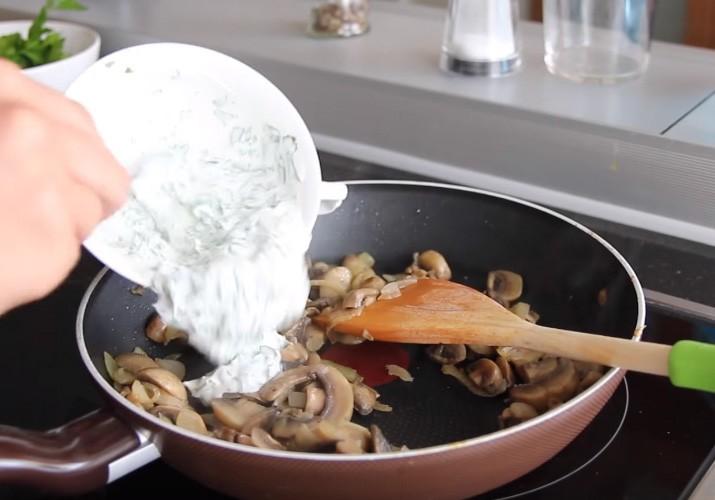 запеченная тыква с грибами