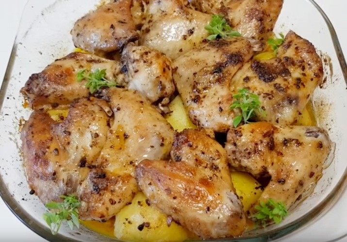 куриные крылышки с картофелем запеченные в духовке