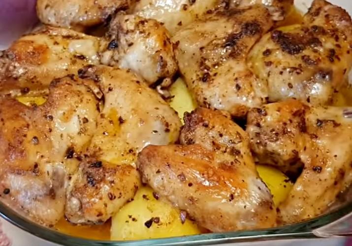 куриные крылышки запеченные в духовке с картофелем