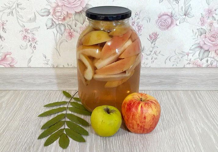 компот с яблоками кусочками