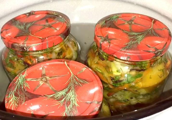 стерилизация салата из зеленых помидоров