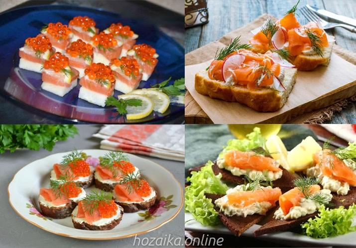 идеи оформления бутербродов с красной рыбой 2