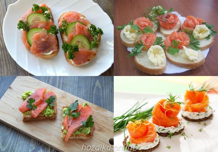 идеи оформления бутербродов с красной рыбой