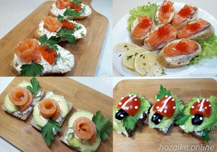 идеи оформления бутербродов с красной рыбой 3