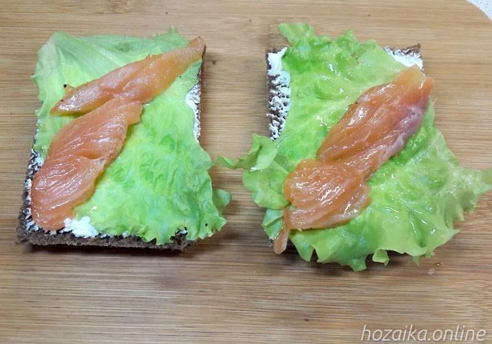 ломтики лосося на салатных листьях и хлебе