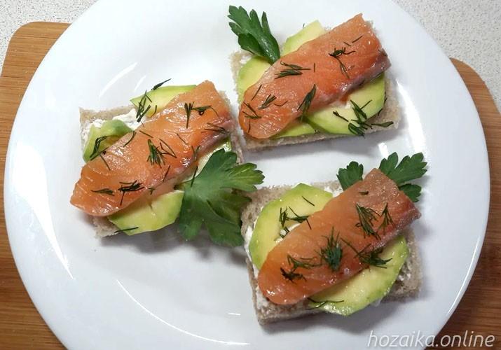 бутерброд с лососем творожным сыром и авокадо на тарелке