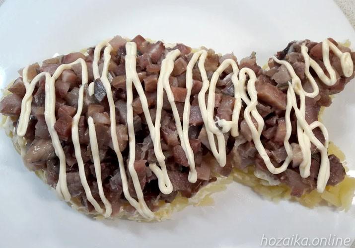 слой сельди на картофеле