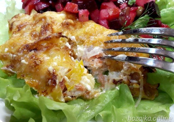 мясо по-французски из куриного филе без картошки в разрезе