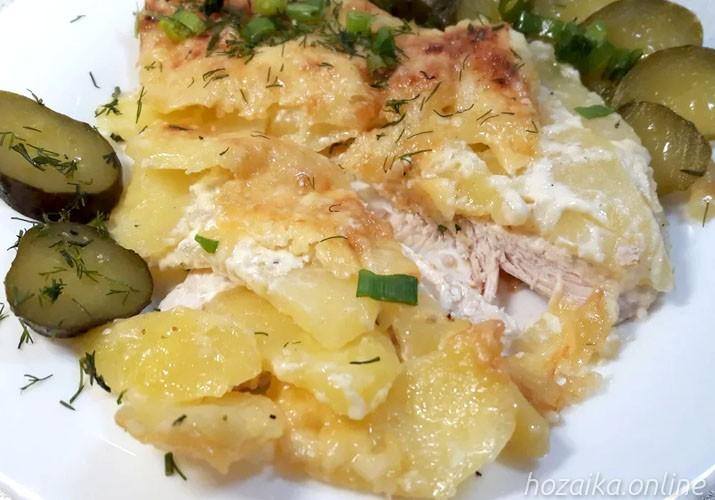 мясо по-французски с куриным филе и картошкой в разрезе