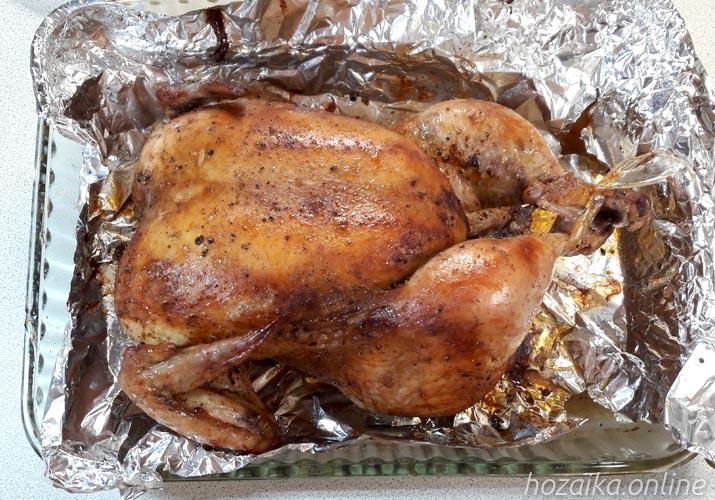 запеченная в духовке курица целиком