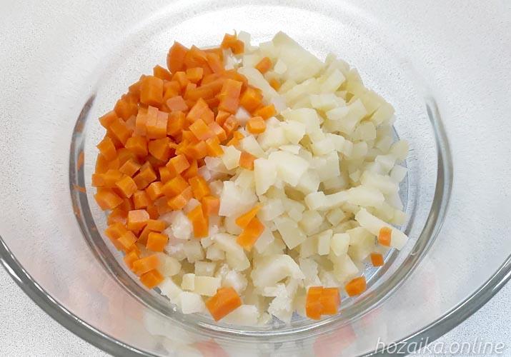 картошка с морковкой для оливье