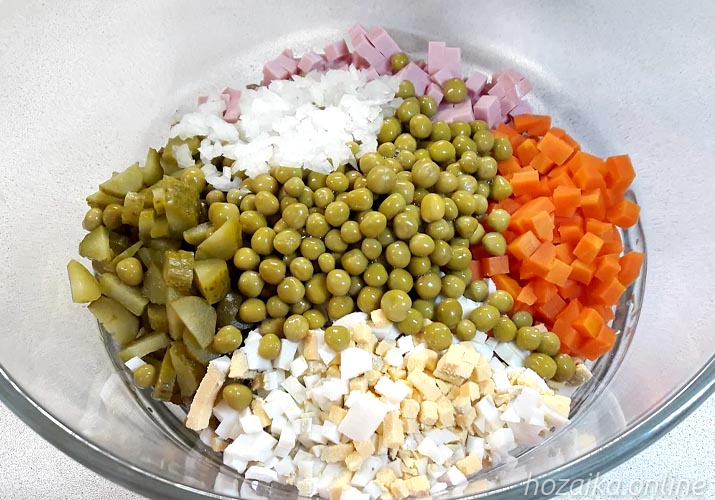 все составляющие салата оливье классического с колбасой