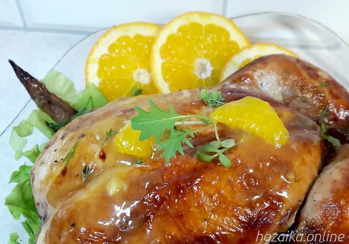 курица целиком под апельсиновым соусом