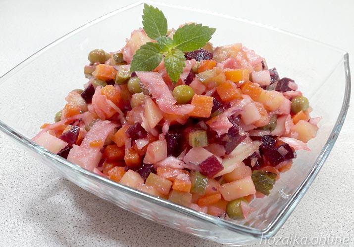 салат винегрет с квашеной капустой и горошком