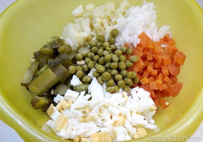 ингредиенты для салата оливье с курицей