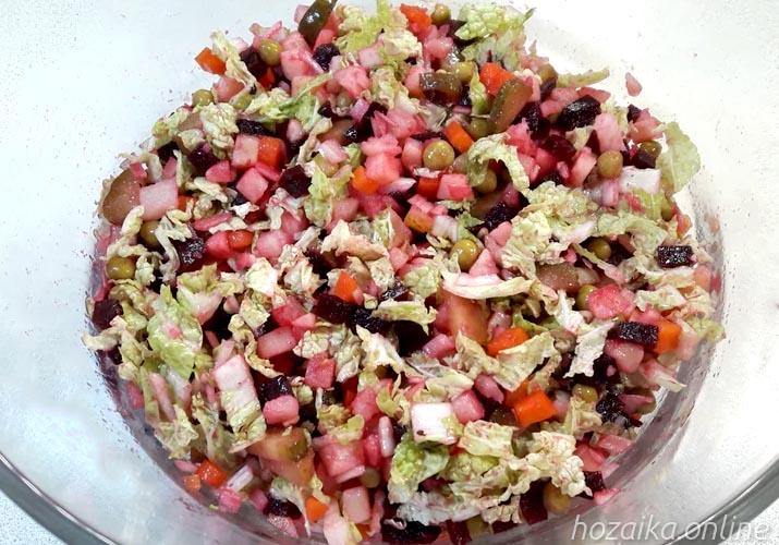 салат винегрет со свежей пекинской капустой
