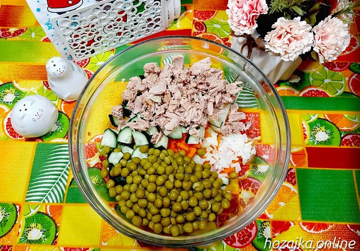 составляющие для диетического оливье