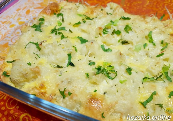 Запеканка из цветной капусты с сыром и яйцом в духовке