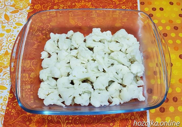 слой цветной капусты для запеканки с сыром и яйцом