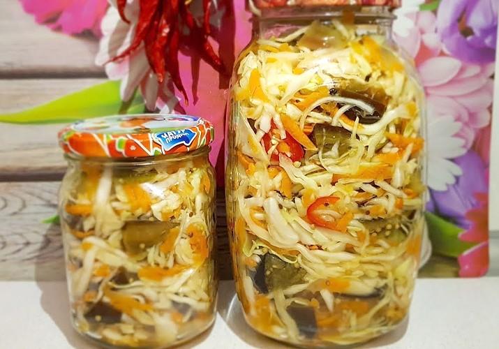 салат из капусты с баклажаном