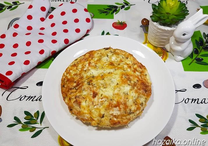 рваный пирог из лаваша с творогом и сыром