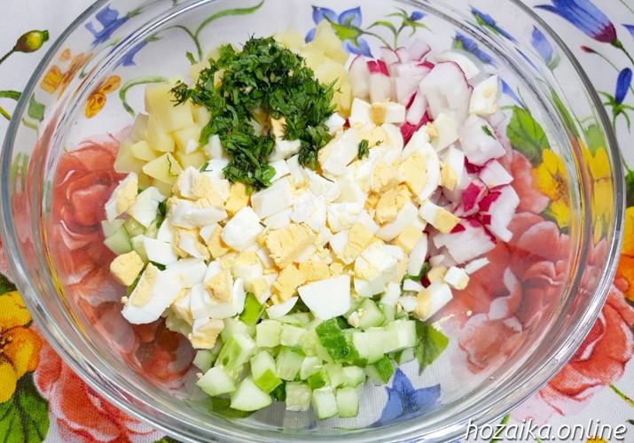 овощи для окрошки с куриной грудкой на кефире