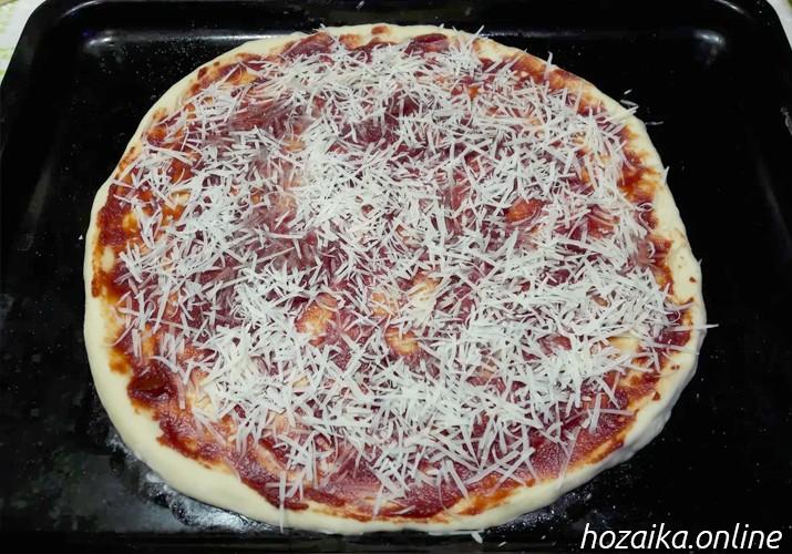 тесто на противне для пиццы Маргарита