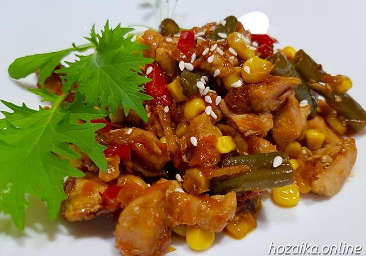 свинина терияки с овощами