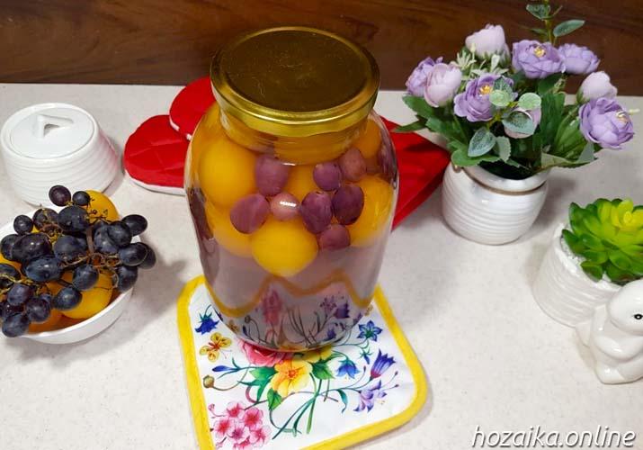компот из алычи с виноградом