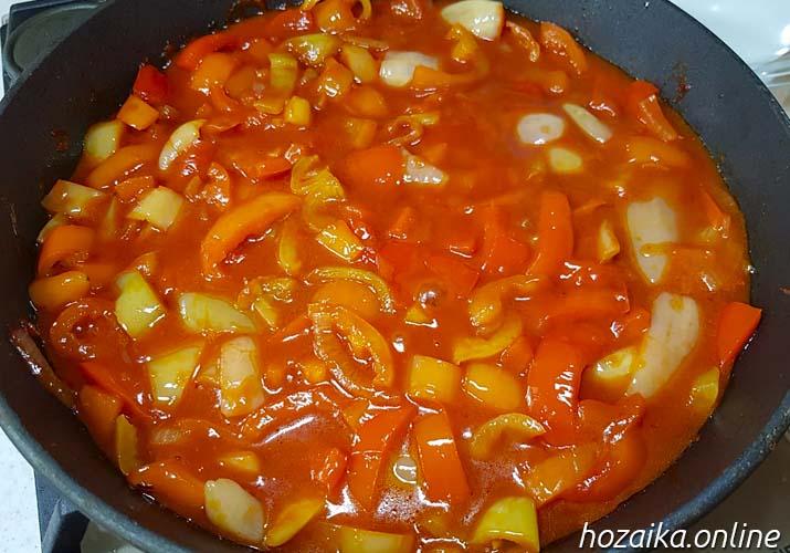 лечо из болгарского перца с томатной пастой