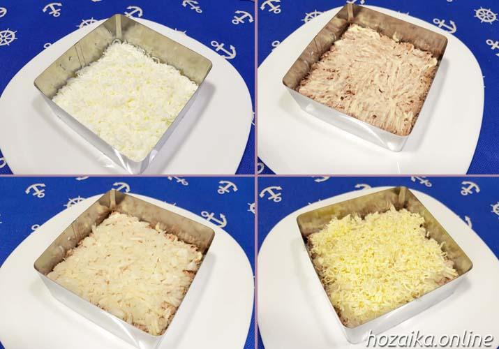 процесс готовки салата Мимоза со сливочным маслом