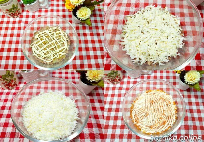 процесс приготовления салата Мимоза с рисом