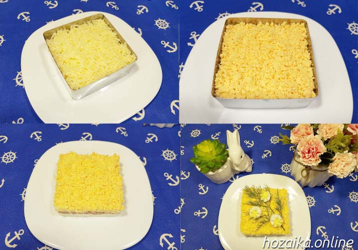 процесс сборки салата Мимоза со сливочным маслом