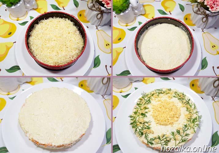 процесс приготовления салата Мимоза с горбушей