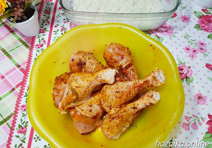 ножки курицы со специями для запекания с рисом