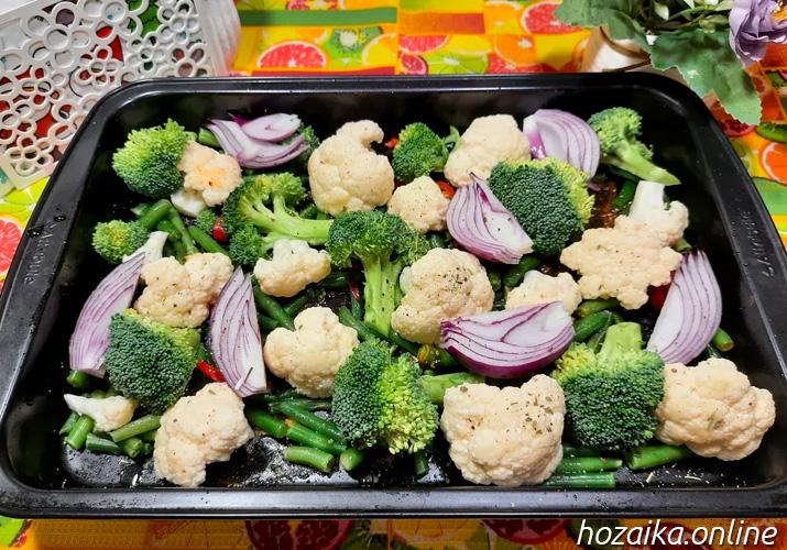 овощи для запекания с куриными ножками