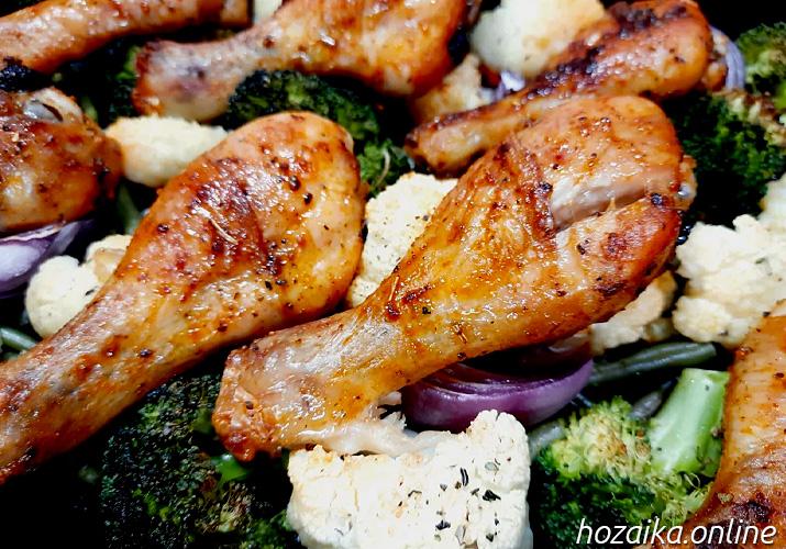 запеченные куриные ноги с овощами