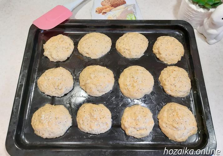 заготовка для булочек из миндальной муки с псиллиумом